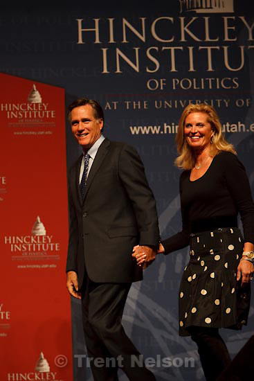 Trent Nelson  |  The Salt Lake Tribune.Salt Lake City - Mitt Romney and his wife Ann at the Salt Palace Convention Center during a stop on his No Apology book tour and as part of the Hinckley Institute of Politics, Saturday, March 13, 2010.