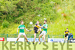 Mark O'Shea Dr Crokes Padraig Lucey and Billy Maguire Legion contest for the ball during the League game in Lewis Road on Sunday