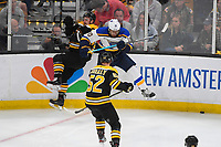 June 6, 2019: St. Louis Blues center Brayden Schenn (10) and Boston Bruins center Noel Acciari (55) make contact during game 5 of the NHL Stanley Cup Finals between the St Louis Blues and the Boston Bruins held at TD Garden, in Boston, Mass. The Blues defeat the Bruins 2-1 in regulation time. Eric Canha/CSM