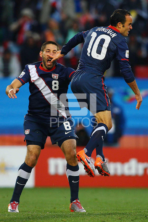Landon Donovan of USA (right) celebrates his goal against Slovenia with Clint Dempsey (left)