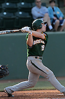 Logan Vick #19 of the Baylor Bears bats against the UCLA Bruins at Jackie Robinson Stadium on February 25, 2012 in Los Angeles,California. UCLA defeated Baylor 9-3.(Larry Goren/Four Seam Images)