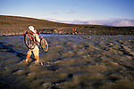 Man carrying bicycle on his shoulder crossing a river, Iceland.
