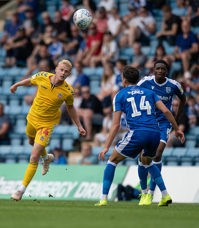 Bolton Wanderers' James Weir (left)<br /> <br /> Photographer David Horton/CameraSport<br /> <br /> The EFL Sky Bet League One - Gillingham v Bolton Wanderers - Saturday 31st August 2019 - Priestfield Stadium - Gillingham<br /> <br /> World Copyright © 2019 CameraSport. All rights reserved. 43 Linden Ave. Countesthorpe. Leicester. England. LE8 5PG - Tel: +44 (0) 116 277 4147 - admin@camerasport.com - www.camerasport.com