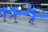 SCHAATSEN: HEERENVEEN: 17-06-2014, IJsstadion Thialf, Zomerijs training, Gianni Romme, Margot Boer, Jorien Voorhuis, ©foto Martin de Jong