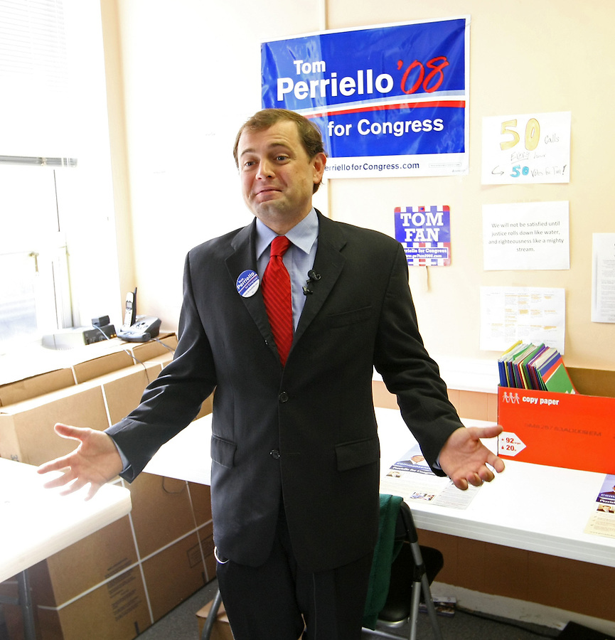 Tom Perriello, the Democratic nominee for US Representative from Virginia's 5th Congressional District, talks with members of the press about the undecided race with incumbant Virgil Goode at his office November 5, 2008 in Charlottesville, VA.(Photo/Andrew Shurtleff)