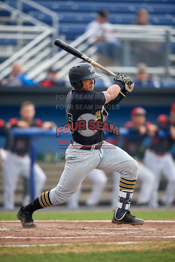 West Virginia Black Bears catcher Deon Stafford (57) follows through on a swing during a game against the Batavia Muckdogs on August 7, 2017 at Dwyer Stadium in Batavia, New York.  West Virginia defeated Batavia 6-3.  (Mike Janes/Four Seam Images)