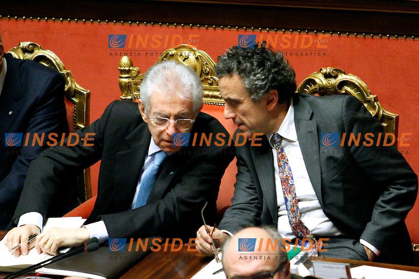 MARIO MONTI E FABRIZIO BARCA.Roma 22/12/2011 Senato. Voto di Fiducia sulla Manovra Economica.Votation at Senate about austerity plan. .Photo Samantha Zucchi Insidefoto