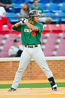 Harold Martinez #9 of the Miami Hurricanes at bat against the Wake Forest Demon Deacons at Gene Hooks Field on March 18, 2011 in Winston-Salem, North Carolina.  Photo by Brian Westerholt / Four Seam Images