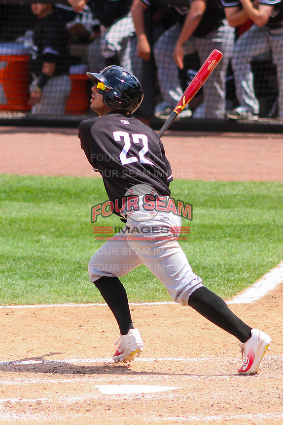 Quad Cities River Bandits shortstop Jonathan Arauz (22) swings at a pitch during a Midwest League game against the Wisconsin Timber Rattlers on June 27, 2017 at Fox Cities Stadium in Appleton, Wisconsin.  Quad Cities defeated Wisconsin 6-5. (Brad Krause/Four Seam Images)