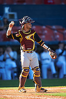 Bethune-Cookman Wildcats catcher Michael Cruz (15) during a game against the Wisconsin-Milwaukee Panthers on February 26, 2016 at Chain of Lakes Stadium in Winter Haven, Florida.  Wisconsin-Milwaukee defeated Bethune-Cookman 11-0.  (Mike Janes/Four Seam Images)