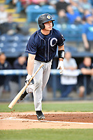 Charleston RiverDogs catcher Josh Breaux (34) swings at a pitch during a game against the Asheville Tourists at McCormick Field on April 10, 2019 in Asheville, North Carolina. The  RiverDogs defeated the Tourists 5-3. (Tony Farlow/Four Seam Images)