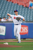 Buffalo Bisons third baseman Nash Knight (8) throws to first base during an International League game against the Rochester Red Wings on August 26, 2019 at Sahlen Field in Buffalo, New York.  Buffalo defeated Rochester 5-4.  (Mike Janes/Four Seam Images)