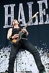 Joe Hottinger of Halestorm performs during the 2013 Rock On The Range festival at Columbus Crew Stadium in Columbus, Ohio.
