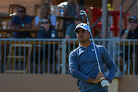 Shubhankar Sharma (IND) watches his tee shot on 16 during Round 1 of the Valero Texas Open, AT&amp;T Oaks Course, TPC San Antonio, San Antonio, Texas, USA. 4/19/2018.<br /> Picture: Golffile | Ken Murray<br /> <br /> <br /> All photo usage must carry mandatory copyright credit (&copy; Golffile | Ken Murray)