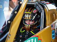 Jun 15, 2018; Bristol, TN, USA; NHRA top fuel driver Leah Pritchett during qualifying for the Thunder Valley Nationals at Bristol Dragway. Mandatory Credit: Mark J. Rebilas-USA TODAY Sports