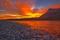 Sunrise over Waterton Lakes. Vimy Peak (Ridge) at right., Waterton Lakes  National Park, Alberta, Canada
