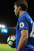 Christian Fuchs of Leicester City during the Premier League match between Leicester City v Sunderland played at King Power Stadium, Leicester on 4th April 2017.<br /> <br /> <br /> available via IPS Photo Agency/Rex Features  only