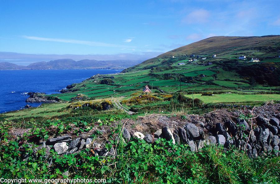 Coastal scenery and scattered settlement Dursey Head, Beara peninsula, County Cork, Ireland looking north