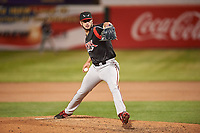 Lake Elsinore Storm relief pitcher Dylan Coleman (27) during a California League game against the Lancaster JetHawks on April 10, 2019 at The Hanger in Lancaster, California. Lake Elsinore defeated Lancaster 10-0 in the first game of a doubleheader. (Zachary Lucy/Four Seam Images)