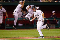 Eric Cheray (14) of the Missouri State Bears screams after Kevin Medrano (not pictured) hit the game winning hit during a game against the Kansas Jayhawks at Hammons Field on March 27, 2012 in Springfield, Missouri. (David Welker/Four Seam Images)