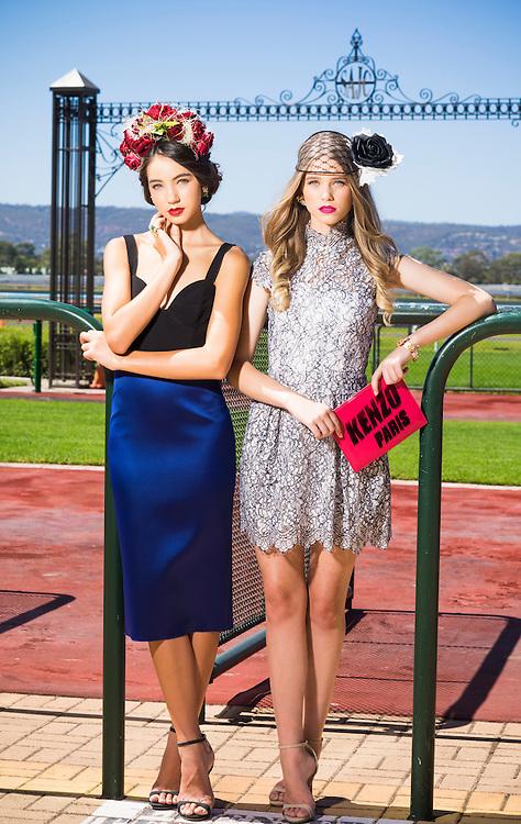 Sunday Mail Fashion, Race wear at Morphettville Race Coarse , Azalea Models Angel Allan and Kiarra Jeromin. Photo: Nick Clayton