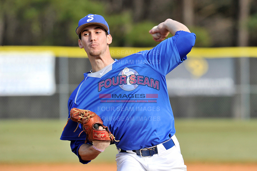 Pitcher Doug Gressly (29) of the Spartanburg Methodist College Pioneers delivers a pitch in a junior college game against Surry Community College on January 31, 2016, at Mooneyham Field in Spartanburg, South Carolina. (Tom Priddy/Four Seam Images)