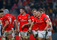 9th November 2019; Thomond Park, Limerick, Munster, Ireland; Guinness Pro 14 Rugby, Munster versus Ulster; Andrew Conway of Munster celebrates scoring a try with team mates 22 - 16 - Editorial Use