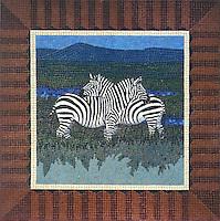 Zebra medallion made in porcelian.