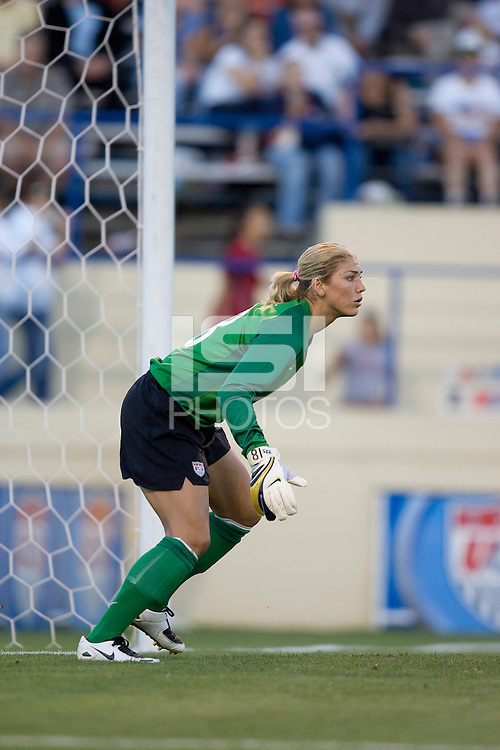 Hope Solo guards her goal. USA defeated Japan 4-1 at Spartan Stadium in San Jose, CA on July 28, 2007.
