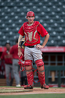 AZL Angels catcher David Clawson (7) during the completion of a suspended Arizona League game against the AZL Diamondbacks at Tempe Diablo Stadium on July 16, 2018 in Tempe, Arizona. The game was a continuation of the July 11, 2018 contest that was suspended by rain in the middle of the eighth inning. The AZL Diamondbacks defeated the AZL Angels 12-8. (Zachary Lucy/Four Seam Images)