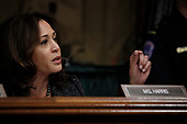 U.S. Senator Kamala Harris (D-CA) questions professor Christine Blasey Ford, who has accused U.S. Supreme Court nominee Brett Kavanaugh of a sexual assault in 1982, during a Senate Judiciary Committee confirmation hearing for Kavanaugh on Capitol Hill in Washington, U.S., September 27, 2018. REUTERS/Jim Bourg