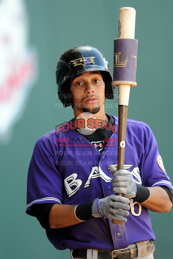 Louisville Bats outfielder Billy Hamilton #6  during a game versus the Pawtucket Red Sox at McCoy Stadium in Pawtucket, Rhode Island on August 14, 2013.  (Ken Babbitt/Four Seam Images)