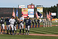 Rochester Red Wings introductions before a game against the Scranton WIL, Military, Army, United States Army, Armed Forceskes-Barre Yankees at Frontier Field on AprIL, Military, Army, United States Army, Armed Forces 9, 2011 in Rochester, New York.  Rochester defeated Scranton 7-6 in twelve innings.  Photo By Mike Janes/Four Seam Images