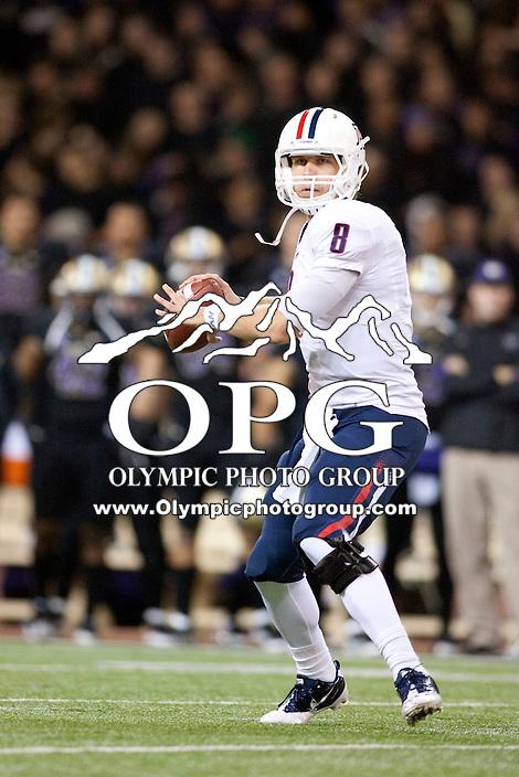 Oct 29, 2011:  Arizona quarterback #8 Nick Foles against Washington.  Washington defeated Arizona 42-31 at Husky Stadium in Seattle, Washington...