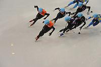 OLYMPICS: SOCHI: Iceberg Skating Palace, 13-02-2014, Shorttrack, 5000m Relay Men, Semifinals, Freek van der Wart (#249 | NED), Niels Kerstholt (#247 | NED), Ha-Bin Lee (#240 | KOR), ©photo Martin de Jong