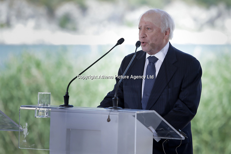 Pictured: Mathew Nimetz of the United Nations. Sunday 17 June 2018<br /> Re: Greece and the Former Yugoslav Republic Of Macedonia (FYROM) have signed a deal that aims to settle a decades-long dispute over the country's name.<br /> Under the agreement, Greece's neighbour will be known as North Macedonia.<br /> Heated rows over Macedonia's name have been going on since the break-up of the former Yugoslavia, of which it was a part, and have held up Macedonia's entry to Nato and the EU.<br /> Greece has long argued that by using the name Macedonia, its neighbour was implying it had a claim on the northern Greek province also called Macedonia.<br /> The two countries' leaders, Mr Tsipras and his Macedonian counterpart Zoran Zaev announced the deal on Tuesday and have pressed ahead despite protests.<br /> The two countries' foreign ministers signed the deal on Lake Prespa on Greece's northern border on Sunday.<br /> The agreement still needs to be approved by both parliaments and by a referendum in Macedonia.