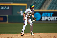 Baylor Bears shortstop Nick Loftin (2) on defense against the Missouri Tigers in game one of the 2020 Shriners Hospitals for Children College Classic at Minute Maid Park on February 28, 2020 in Houston, Texas. The Bears defeated the Tigers 4-2. (Brian Westerholt/Four Seam Images)
