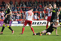 Danny Newton of Stevenage misses during Stevenage vs Cambridge United, Sky Bet EFL League 2 Football at the Lamex Stadium on 14th April 2018