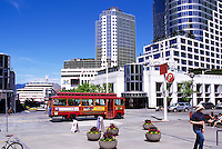 "Sightseeing Tour Bus at ""Waterfront Centre"" and ""Canada Place"" Trade and Convention Centre, Vancouver, British Columbia, Canada"