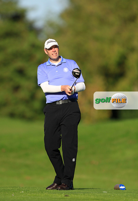 Ted Higgins (Mount Wolseley) on the 13th tee during Round 1 of The Cassidy Golf 103rd Irish PGA Championship in Roganstown Golf Club on Thursday 10th October 2013.<br /> Picture:  Thos Caffrey / www.golffile.ie