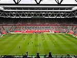 nph00351:  Fußball: Bundesliga, Fortuna Düsseldorf - Borussia Mönchengladbach, 26. Spieltag in der Merkur-Spiel-Arena. Anstoß vor leeren Rängen. Foto: Carsten Lappe/DPA/Pool//Verbreitung via Meuter/nordphoto