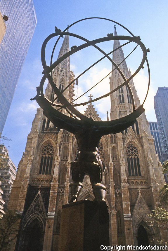 New York City: Statue of Atlas by Lee Lawrie--St. Patrick's in background.