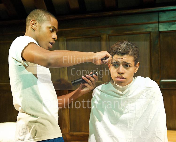Choir Boys<br /> by Tarrell Alvin McCraney<br /> dircted by Dominic Cooke.<br /> at The Jerwood Theatre Upstairs, Royal Court Theatre, London, Great Britain <br /> 7th September 2012 <br /> Press Photocall <br /> <br /> Kwayedza Kureya (as Junior Davis)<br /> Khali Best (as Anthony Justin 'Al' James)<br /> Dominic Smith (as Pharus Jonathan Young)<br /> Aron Julius (as David Heard)<br /> Eric Kofi Abrefa (as Bobby Marrow)<br /> Gary McDonald (as Headmaster Marrow)<br /> David Burke (as Mr Pendleton)<br /> <br /> Photograph by Elliott Franks