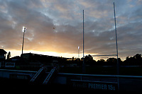 Sunset over the Richmond Athletic Ground during the Championship Cup match between London Scottish Football Club and Yorkshire Carnegie at Richmond Athletic Ground, Richmond, United Kingdom on 4 October 2019. Photo by Carlton Myrie / PRiME Media Images