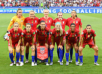 20190702 - LYON , FRANCE : American players with Alyssa Naeher (1) , Becky Sauerbrunn (4) , Kelley O Hara (5) , Abby Dahlkemper (7) , Julie Ertz (8) , Lindsey Horan (9) , Alex Morgan (13) , Rosa Lavelle (16) , Tobin Heath (17) , Crystal Dunn (19) and Christen Press (23) pictured during the female soccer game between England  - the Lionesses - and The United States of America  – USA - , a knock out game in the semi finals of the FIFA Women's  World Championship in France 2019, Tuesday 2 nd July 2019 at the Stade de Lyon  Stadium in Lyon  , France .  PHOTO SPORTPIX.BE | DAVID CATRY