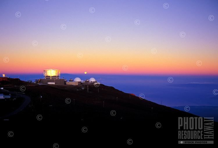 Moonset at sunrise at Science City, Haleakala