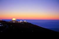 Moonset at sunrise at Science City, Haleakala