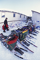 Paul Gebhardt Walks By Dog Sleds at Galena