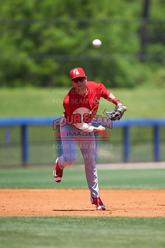Palm Beach Cardinals shortstop Mikey Reynolds (4) throws to first during a game against the Charlotte Stone Crabs on April 10, 2016 at Charlotte Sports Park in Port Charlotte, Florida.  Palm Beach defeated Charlotte 4-1.  (Mike Janes/Four Seam Images)