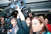 Media crowd around as Ohio governor and Republican presidential candidate John Kasich greets people after a town hall campaign event at Raymond VFW Post 4479 in Raymond, New Hampshire, on Wed., Feb. 3, 2016.